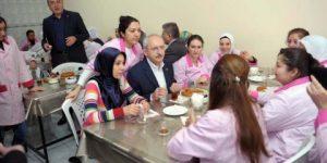 CHP lideri işçilerle kahvaltı yaptı