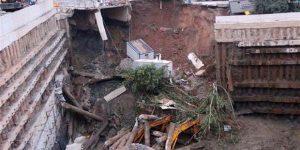 Okul inşaatında korkutan kaza.