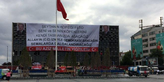 AKM'ye idam pankartı asıldı