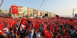 İzmir'de Demokrasi ve Cumhuriyet Mitingi
