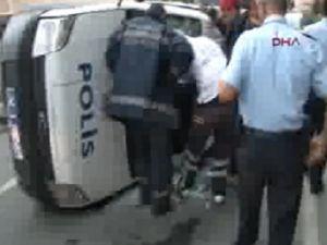 Ataşehir'de polis aracı devrildi: 1 yaralı videosu