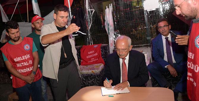 Kılıçdaroğlu grevdeki işçileri ziyaret etti