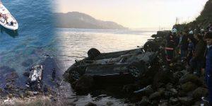 Sarıyer'de araç denize uçtu