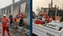 Sarıyer Belediyesi ekipleri yangın bölgesinde.